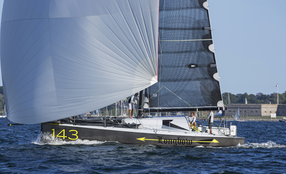 Longbow, an Open 40 sailing in Narragansett Bay